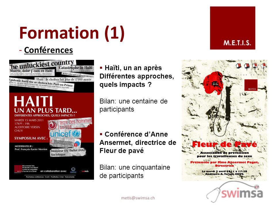 Formation (1) - Conférences Haïti, un an après Différentes approches, quels impacts ? Bilan: une centaine de participants Conférence dAnne Ansermet, d