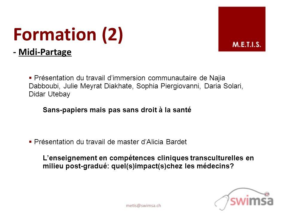 Formation (2) - Midi-Partage Présentation du travail dimmersion communautaire de Najia Dabboubi, Julie Meyrat Diakhate, Sophia Piergiovanni, Daria Sol