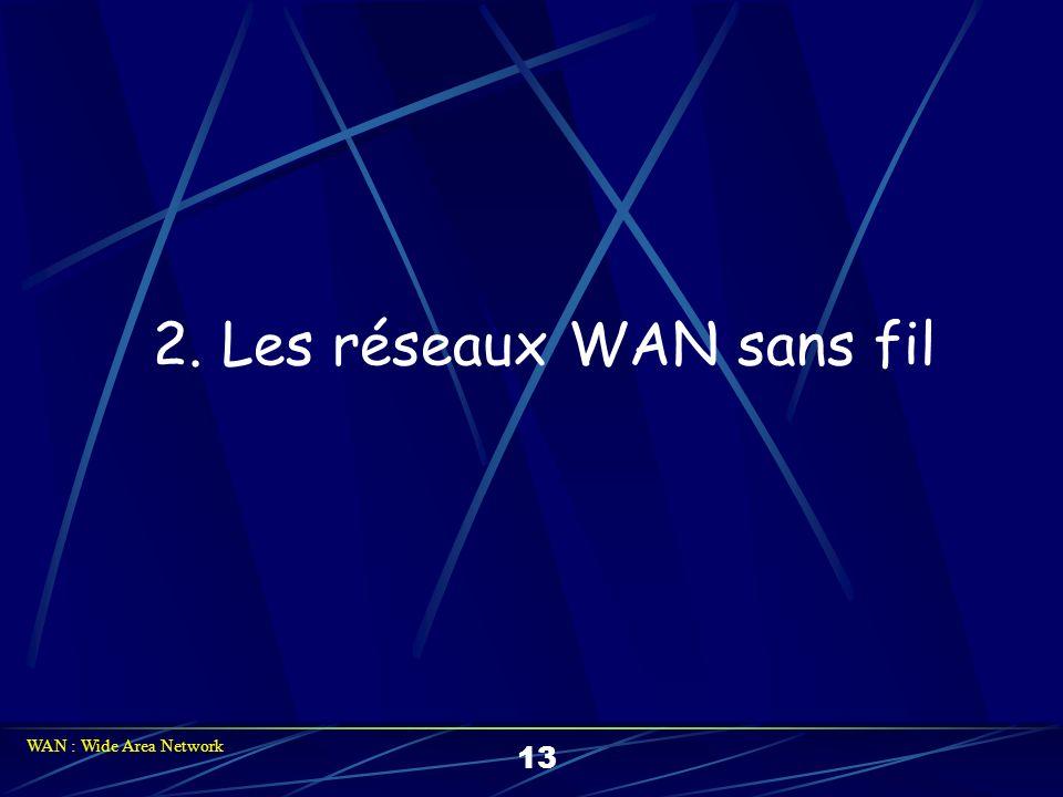 2. Les réseaux WAN sans fil 13 WAN : Wide Area Network