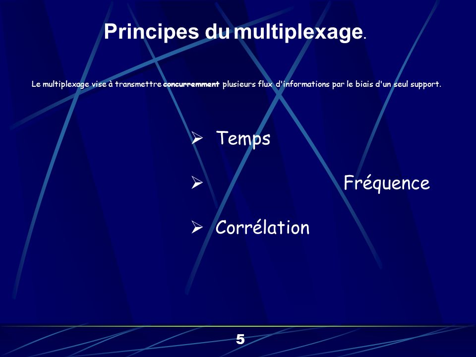 Le multiplexage vise à transmettre concurremment plusieurs flux d informations par le biais d un seul support.