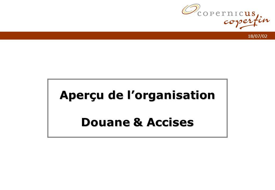 p. 1Titel van de presentatie 18/07/02 Aperçu de lorganisation Douane & Accises