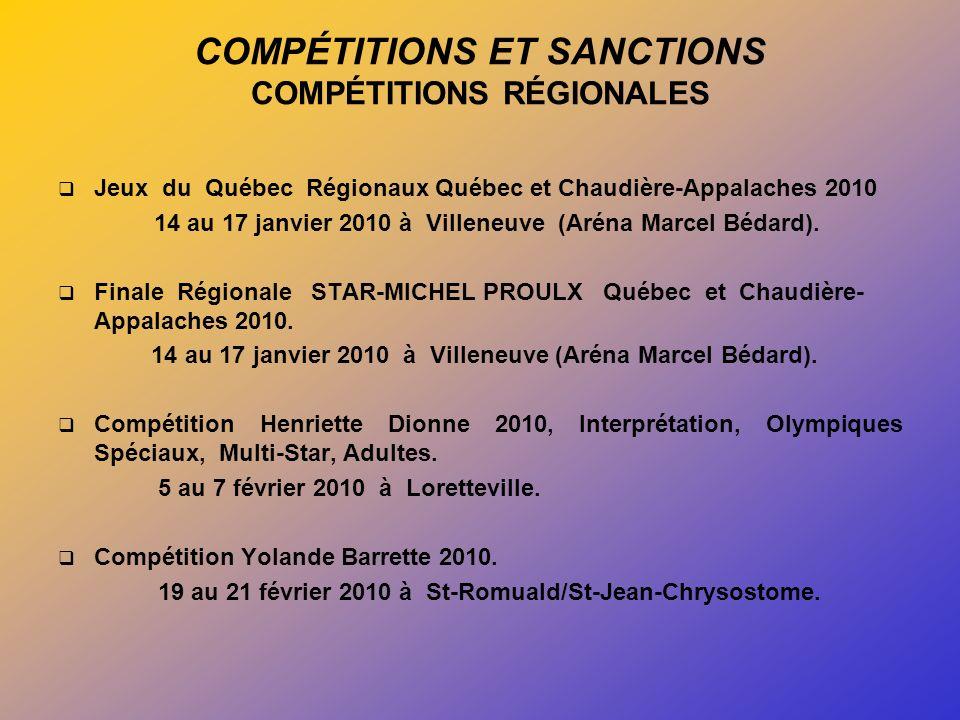 COMPÉTITIONS ET SANCTIONS COMPÉTITIONS RÉGIONALES Jeux du Québec Régionaux Québec et Chaudière-Appalaches 2010 14 au 17 janvier 2010 à Villeneuve (Aréna Marcel Bédard).