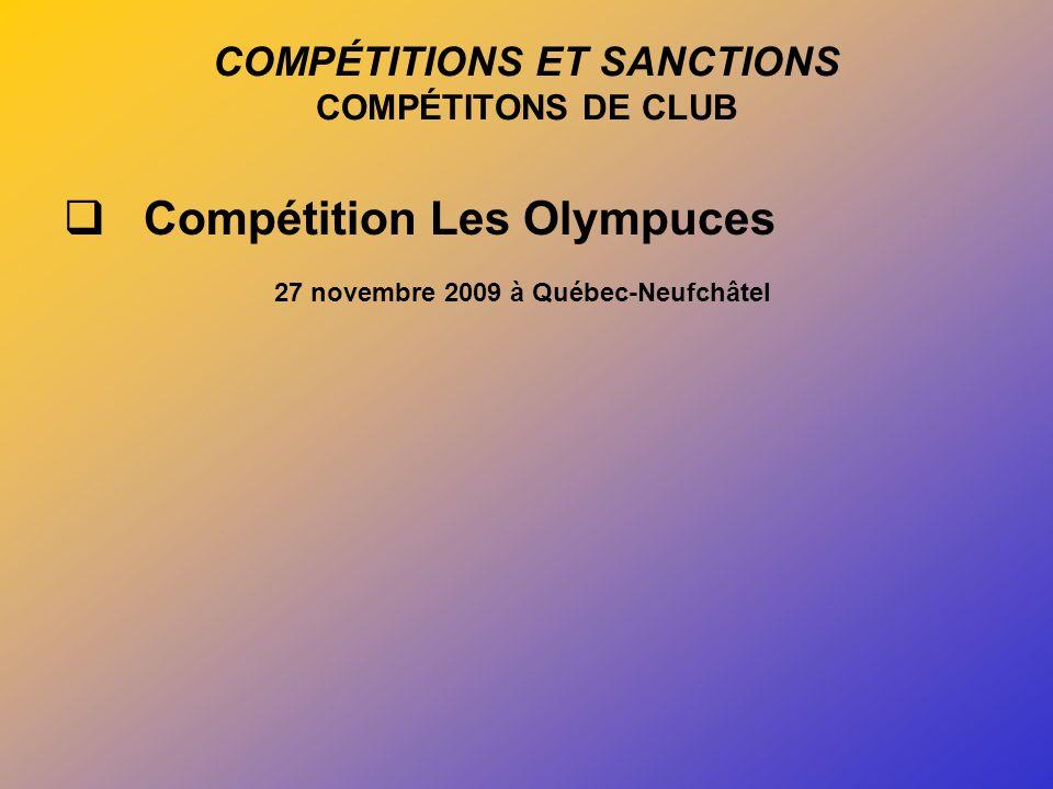 COMPÉTITIONS ET SANCTIONS COMPÉTITONS DE CLUB Compétition Les Olympuces 27 novembre 2009 à Québec-Neufchâtel
