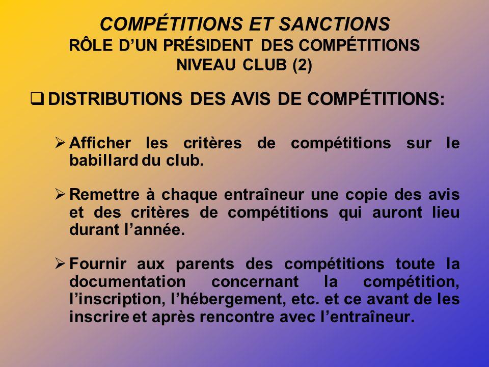 COMPÉTITIONS ET SANCTIONS RÔLE DUN PRÉSIDENT DES COMPÉTITIONS NIVEAU CLUB (2) DISTRIBUTIONS DES AVIS DE COMPÉTITIONS: Afficher les critères de compétitions sur le babillard du club.