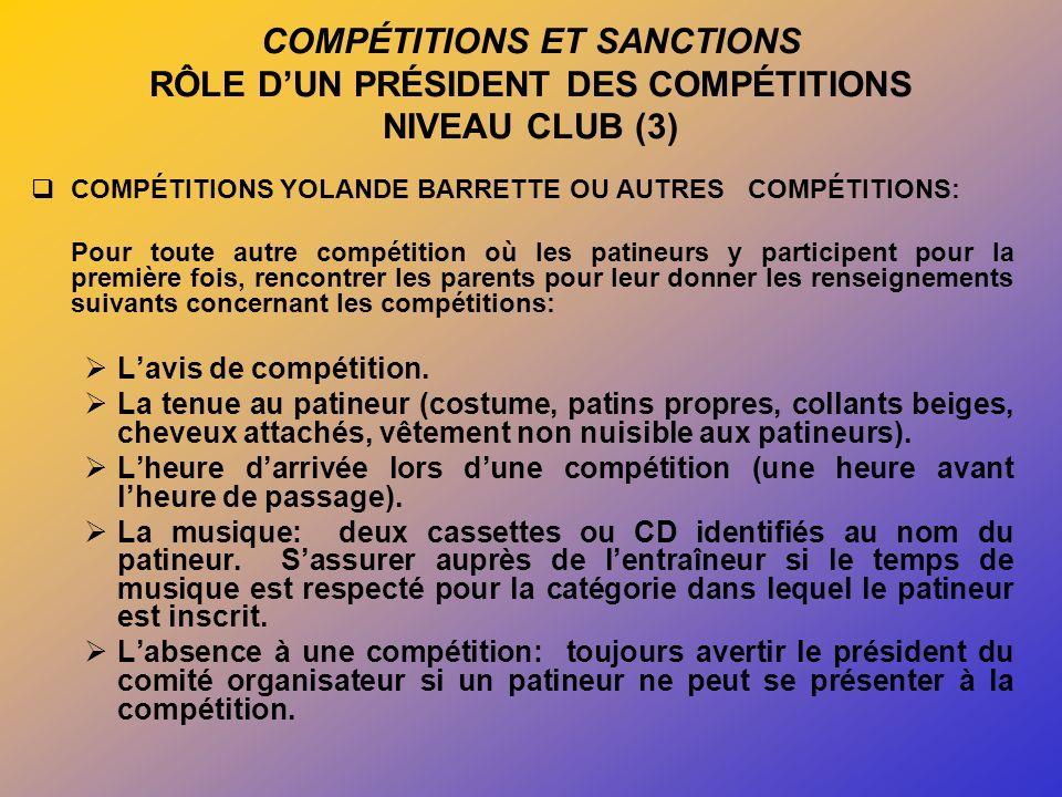 COMPÉTITIONS ET SANCTIONS RÔLE DUN PRÉSIDENT DES COMPÉTITIONS NIVEAU CLUB (3) COMPÉTITIONS YOLANDE BARRETTE OU AUTRES COMPÉTITIONS: Pour toute autre compétition où les patineurs y participent pour la première fois, rencontrer les parents pour leur donner les renseignements suivants concernant les compétitions: Lavis de compétition.