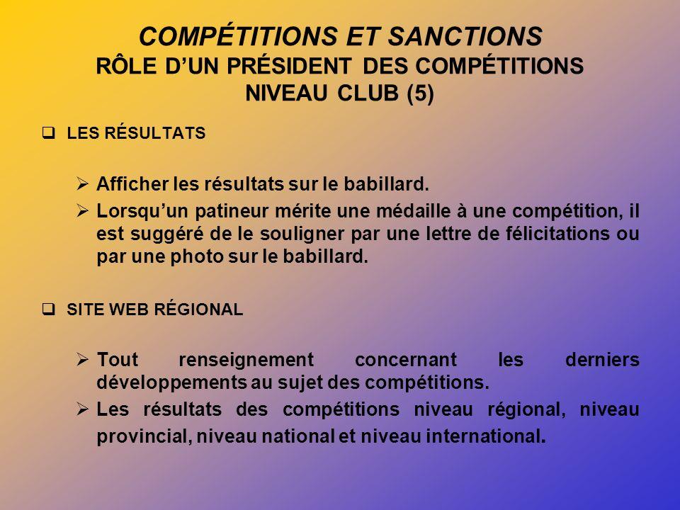 COMPÉTITIONS ET SANCTIONS RÔLE DUN PRÉSIDENT DES COMPÉTITIONS NIVEAU CLUB (5) LES RÉSULTATS Afficher les résultats sur le babillard.