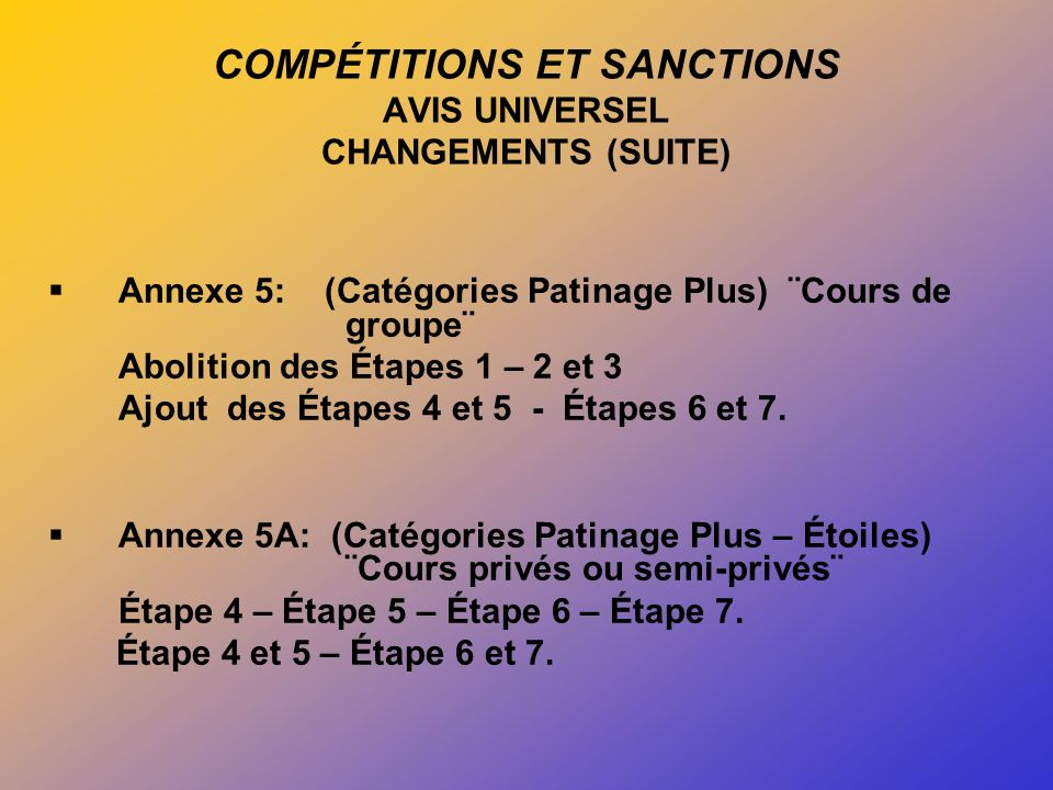 COMPÉTITIONS ET SANCTIONS AVIS UNIVERSEL CHANGEMENTS (SUITE) Annexe 5: (Catégories Patinage Plus) ¨Cours de groupe¨ Abolition des Étapes 1 – 2 et 3 Ajout des Étapes 4 et 5 - Étapes 6 et 7.