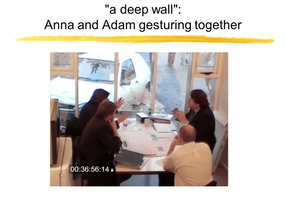 a deep wall : Anna and Adam gesturing together