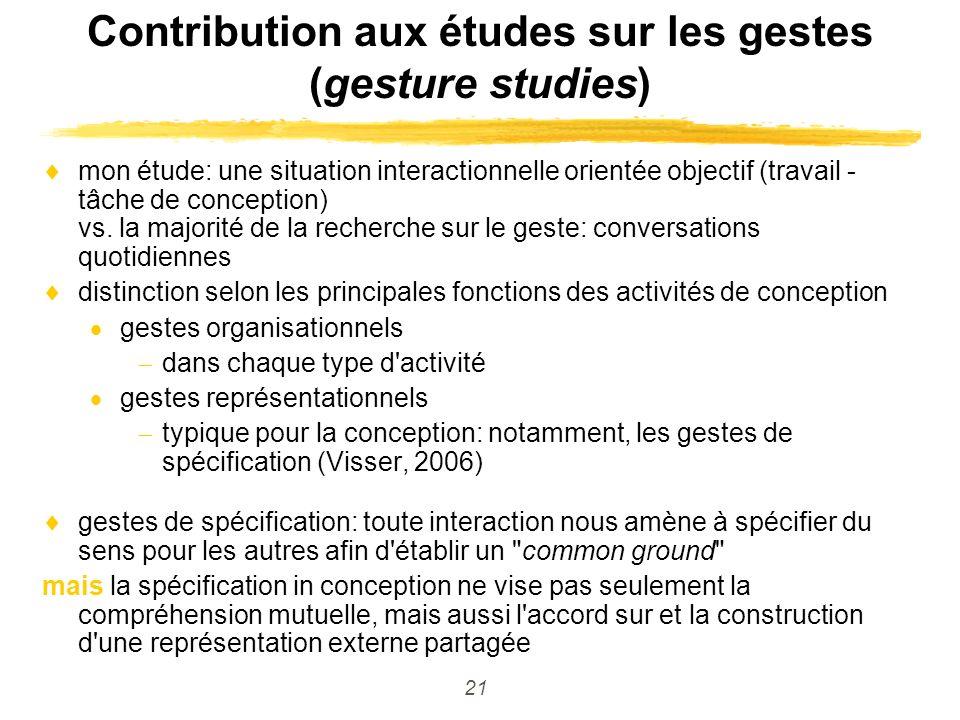 21 Contribution aux études sur les gestes (gesture studies) mon étude: une situation interactionnelle orientée objectif (travail - tâche de conception