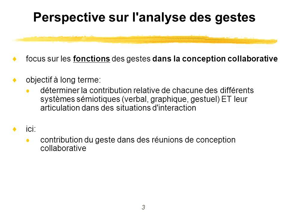 3 Perspective sur l'analyse des gestes focus sur les fonctions des gestes dans la conception collaborative objectif à long terme: déterminer la contri