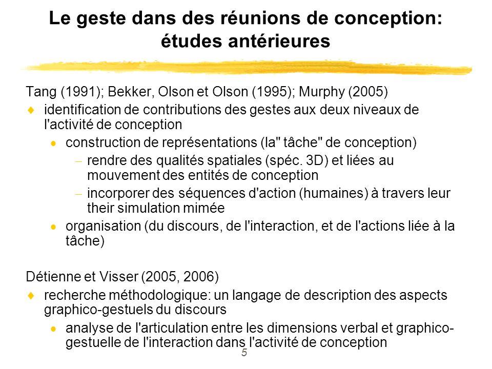 5 Le geste dans des réunions de conception: études antérieures Tang (1991); Bekker, Olson et Olson (1995); Murphy (2005) identification de contributio