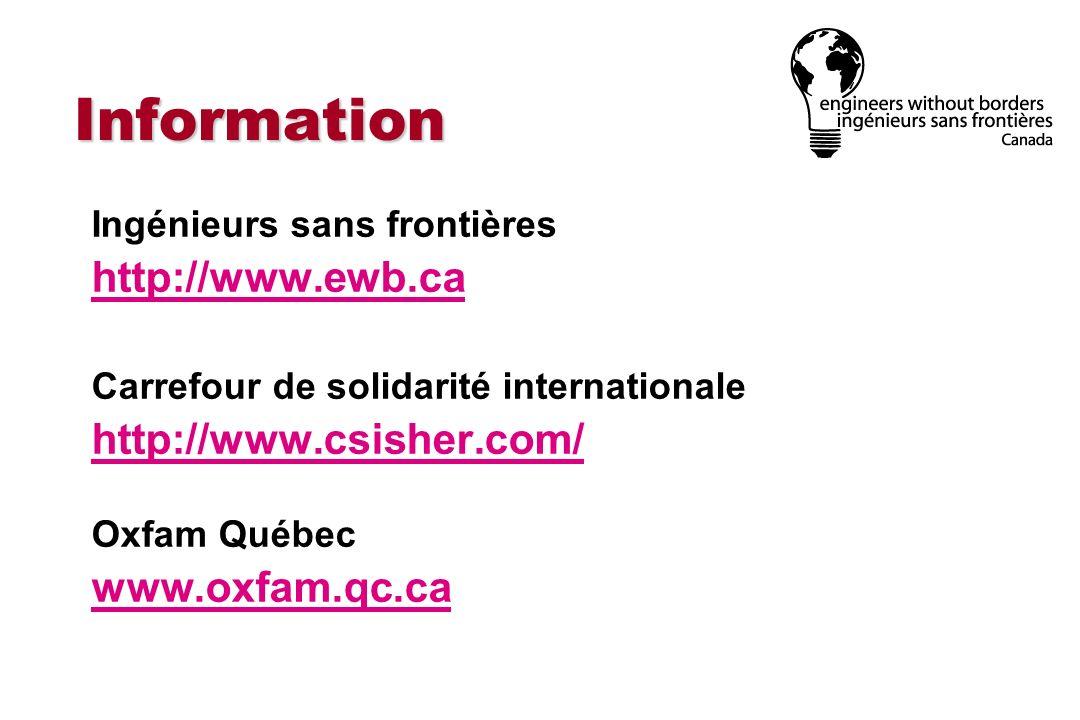 Information Ingénieurs sans frontières http://www.ewb.ca Carrefour de solidarité internationale http://www.csisher.com/ Oxfam Québec www.oxfam.qc.ca