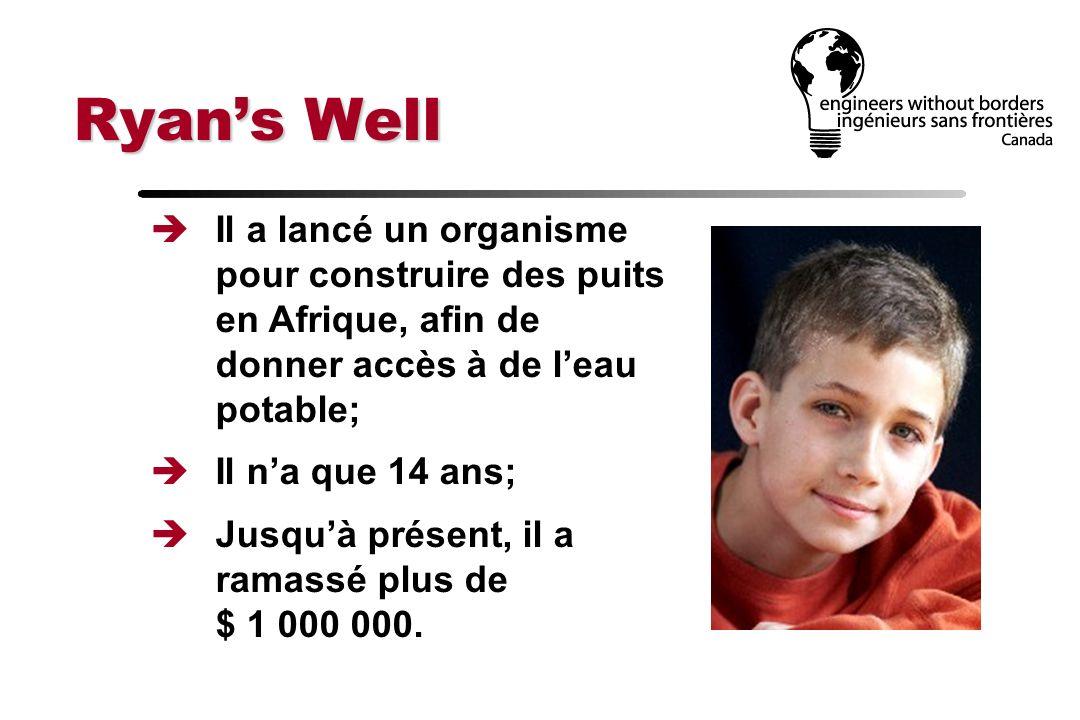 Ryans Well Il a lancé un organisme pour construire des puits en Afrique, afin de donner accès à de leau potable; Il na que 14 ans; Jusquà présent, il