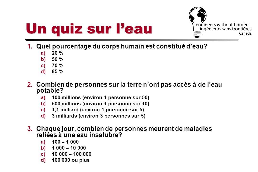 Un quiz sur leau 1.Quel pourcentage du corps humain est constitué deau? a)20 % b)50 % c)70 % d)85 % 2.Combien de personnes sur la terre nont pas accès