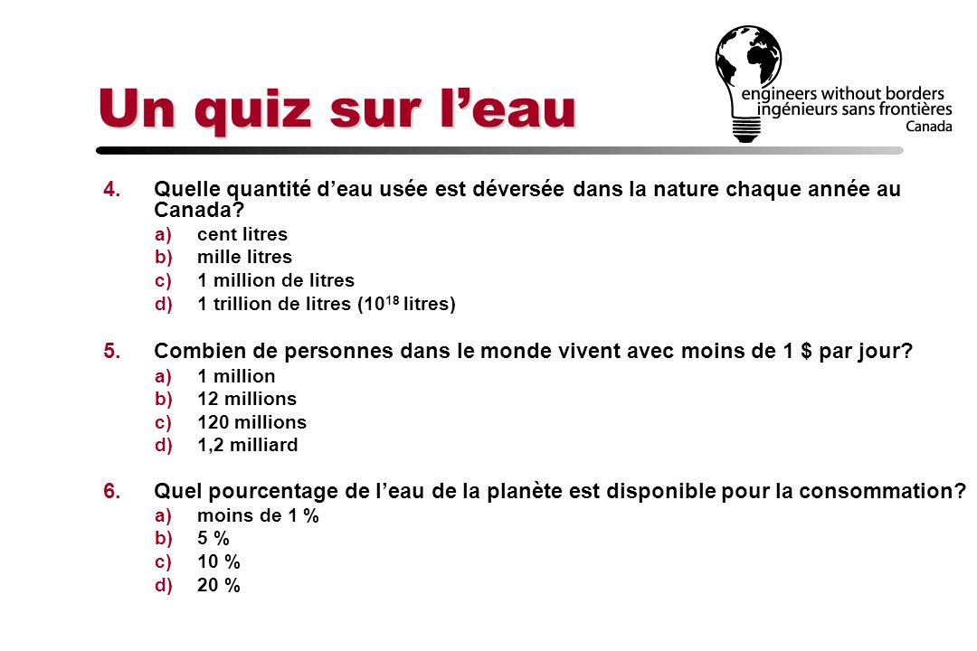 Un quiz sur leau 4.Quelle quantité deau usée est déversée dans la nature chaque année au Canada? a)cent litres b)mille litres c)1 million de litres d)