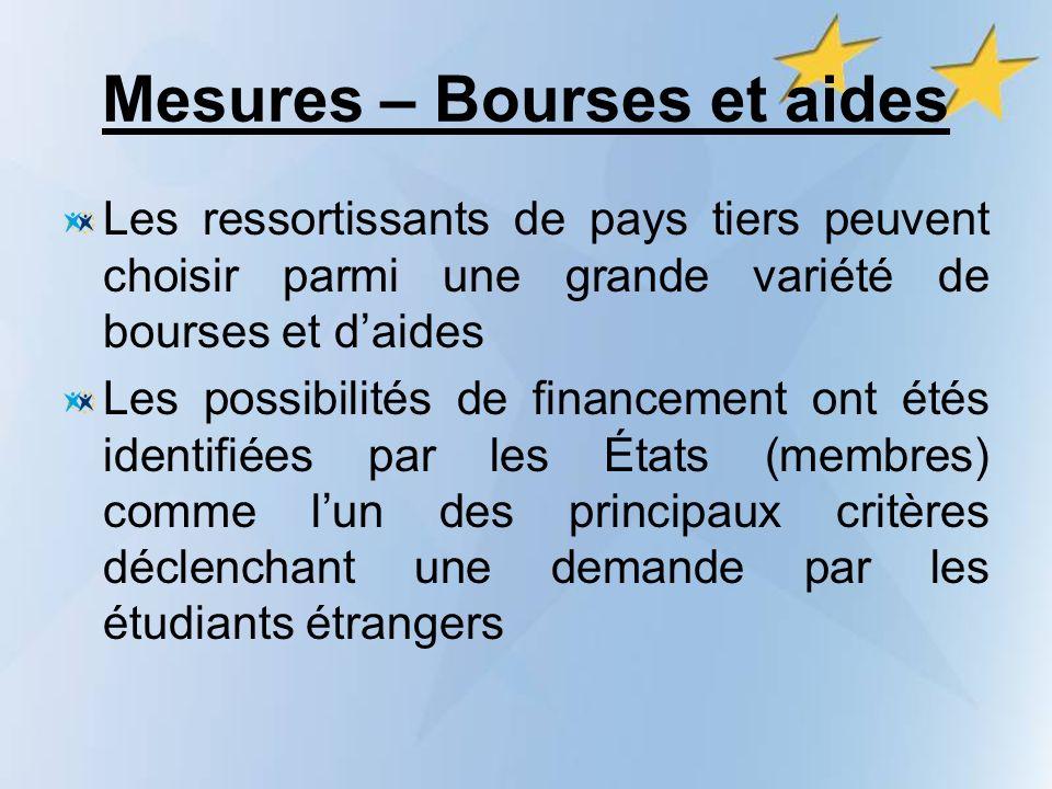 Mesures – Bourses et aides Les ressortissants de pays tiers peuvent choisir parmi une grande variété de bourses et daides Les possibilités de financem
