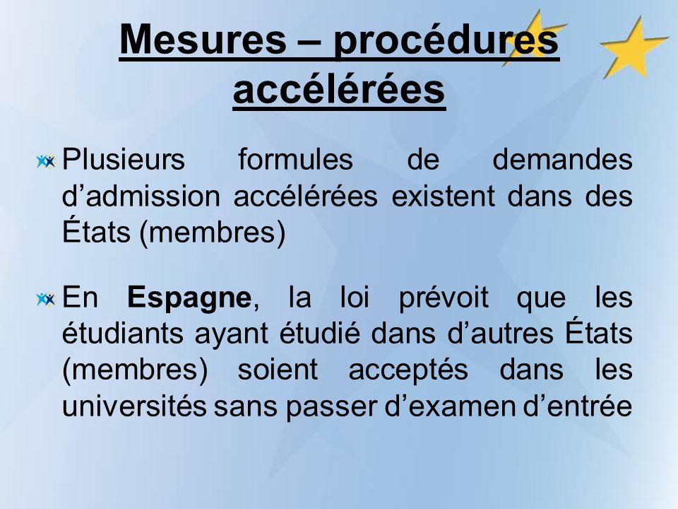 Mesures – procédures accélérées Plusieurs formules de demandes dadmission accélérées existent dans des États (membres) En Espagne, la loi prévoit que les étudiants ayant étudié dans dautres États (membres) soient acceptés dans les universités sans passer dexamen dentrée