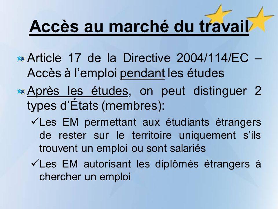 Accès au marché du travail Article 17 de la Directive 2004/114/EC – Accès à lemploi pendant les études Après les études, on peut distinguer 2 types dÉ