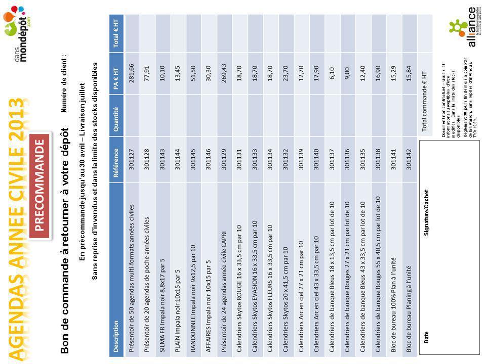 Numéro de client : Bon de commande à retourner à votre dépôt En précommande jusquau 30 avril – Livraison juillet Sans reprise dinvendus et dans la limite des stocks disponibles Document non contractuel – visuels et informations susceptibles dêtre modifiés.
