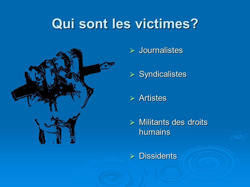 Qui sont les victimes? Journalistes Journalistes Syndicalistes Syndicalistes Artistes Artistes Militants des droits humains Militants des droits humai