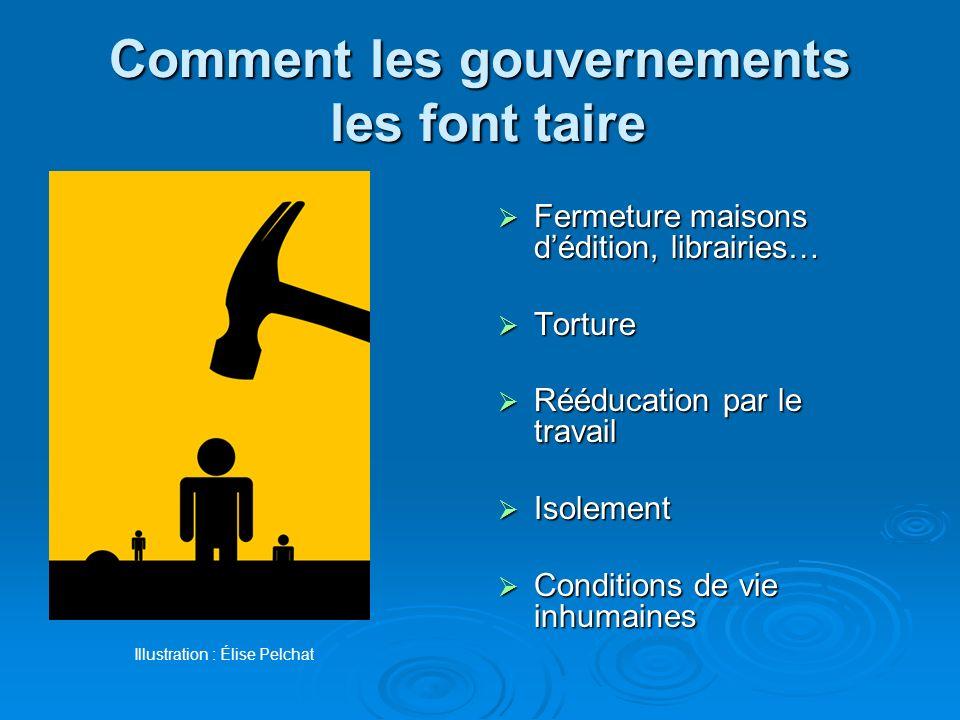 Comment les gouvernements les font taire Fermeture maisons dédition, librairies… Fermeture maisons dédition, librairies… Torture Torture Rééducation p