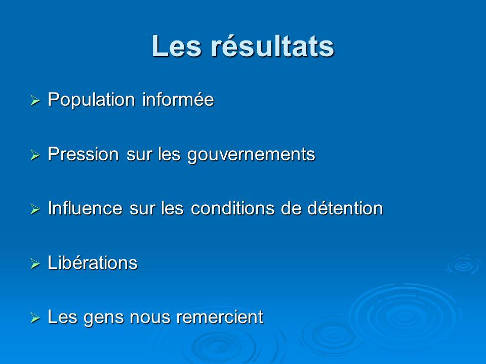 Les résultats Population informée Population informée Pression sur les gouvernements Pression sur les gouvernements Influence sur les conditions de dé