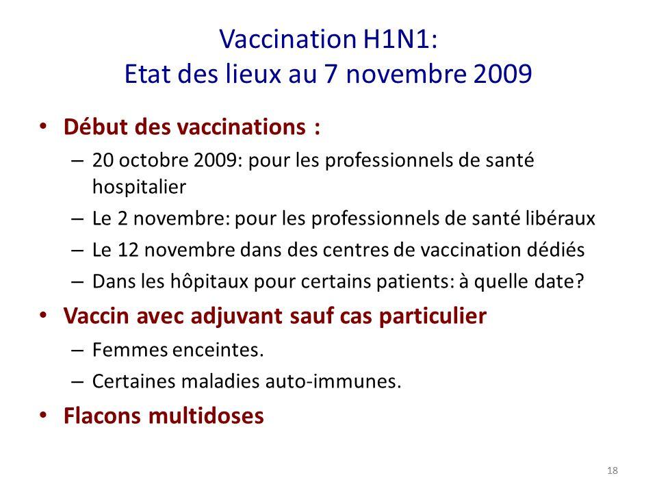 Vaccination H1N1: Etat des lieux au 7 novembre 2009 Début des vaccinations : – 20 octobre 2009: pour les professionnels de santé hospitalier – Le 2 novembre: pour les professionnels de santé libéraux – Le 12 novembre dans des centres de vaccination dédiés – Dans les hôpitaux pour certains patients: à quelle date.