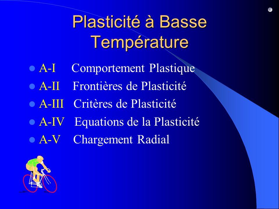 Plasticité à Basse Température A-I Comportement Plastique A-II Frontières de Plasticité A-III Critères de Plasticité A-IV Equations de la Plasticité A-V Chargement Radial