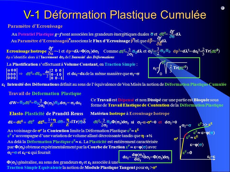 V-1 Déformation Plastique Cumulée Paramètre dEcrouissage Travail de Déformation Plastique Elasto-Plasticité de Prandtl-Reuss Au Potentiel Plastique g=f sont associées les grandeurs énergétiques duales et = d d P = = f = Au Paramètre dEcrouissage associons le Flux dEcrouissage tel que =- d p dp f Ecrouissage Isotrope =-1 et dp=d = ( I )d I f 3 2 Comme et I 2 = dp 2 =d 2 d I 2 d P = 3 2 I = = D d = D = D Tr( 2 ) 2 3 d P = dp sidentifie alors à lIncrément d I de lIntensité des Déformations La Plastification seffectuant à Volume Constant, en Traction Simple : d 2 d P = = d D = = et d I =d de la même manière que I = I = 2 3 Tr( 2 ) d P = 0 P = I Intensité des Déformations définit au sens de léquivalence de Von Misès la notion de Déformation Plastique Cumulée dW= = = I d I = D d P = 3 2 I = D ( I ) = D d I Ce Travail est Dépensé et non Dissipé car une partie est Bloquée sous forme de Travail Elastique de Contention de la Déformation Plastique d P = = = D ( )d 3 2 I si I - - e =0 et d I >0 P E d E = = d = 1+ E E - dTr( ) = = P = ( ) Matériau Isotrope à Ecrouissage Isotrope d P = d = d E = = + I = ( I ) généralise, au sens des grandeurs I et I associée à une Traction Simple Equivalente la notion de Module Plastique Tangent pour I > e d d d I =d I = ( I )d I P = ( ) Au delà la Déformation Plastique P La Plasticité est entièrement caractérisée par ( ) obtenue expérimentalement par la Courbe de Traction P = ( ) avec I = et I = qui fournit e P E Au voisinage de e la Contention limite la Déformation Plastique P E P saccompagne dune variation de volume allant décroissante tandis que ½