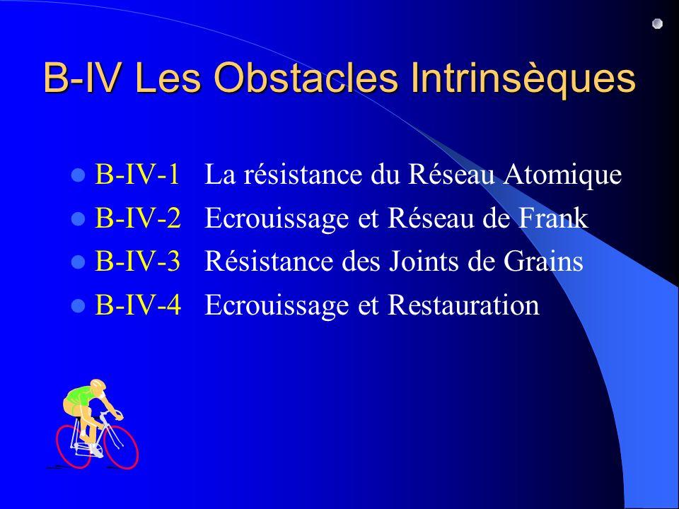B-IV Les Obstacles Intrinsèques B-IV-1 La résistance du Réseau Atomique B-IV-2 Ecrouissage et Réseau de Frank B-IV-3 Résistance des Joints de Grains B-IV-4 Ecrouissage et Restauration