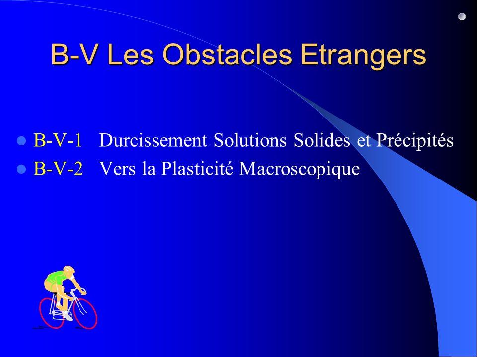 B-V Les Obstacles Etrangers B-V-1 Durcissement Solutions Solides et Précipités B-V-2 Vers la Plasticité Macroscopique