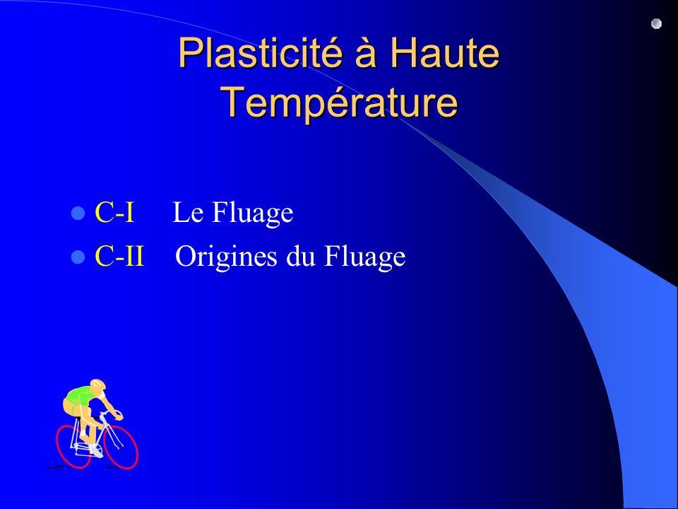 Plasticité à Haute Température C-I Le Fluage C-II Origines du Fluage
