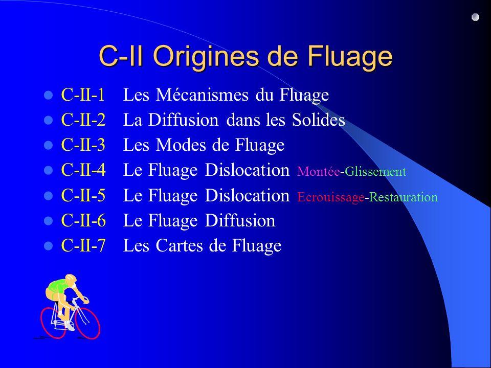C-II Origines de Fluage C-II-1 Les Mécanismes du Fluage C-II-2 La Diffusion dans les Solides C-II-3 Les Modes de Fluage C-II-4 Le Fluage Dislocation Montée-Glissement C-II-5 Le Fluage Dislocation Ecrouissage-Restauration C-II-6 Le Fluage Diffusion C-II-7 Les Cartes de Fluage