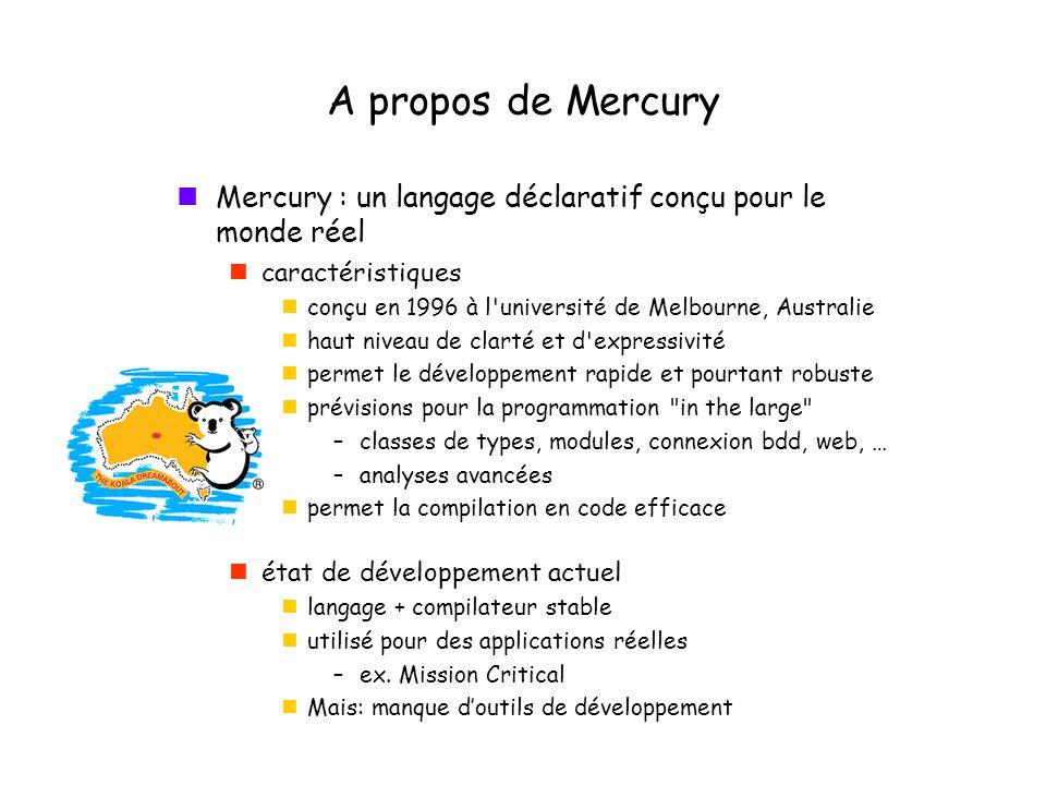 A propos de Mercury Mercury : un langage déclaratif conçu pour le monde réel caractéristiques conçu en 1996 à l université de Melbourne, Australie haut niveau de clarté et d expressivité permet le développement rapide et pourtant robuste prévisions pour la programmation in the large –classes de types, modules, connexion bdd, web, … –analyses avancées permet la compilation en code efficace état de développement actuel langage + compilateur stable utilisé pour des applications réelles –ex.