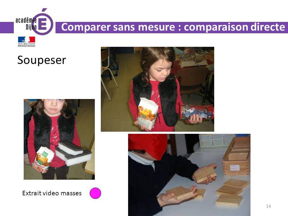 Soupeser 14 Extrait video masses Comparer sans mesure : comparaison directe