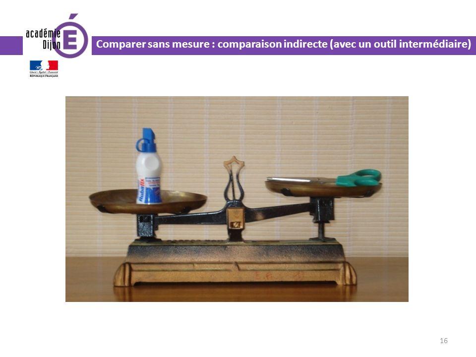 16 Comparer sans mesure : comparaison indirecte (avec un outil intermédiaire)