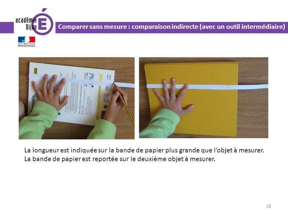 Comparer sans mesure : comparaison indirecte (avec un outil intermédiaire) 18 La longueur est indiquée sur la bande de papier plus grande que lobjet à mesurer.