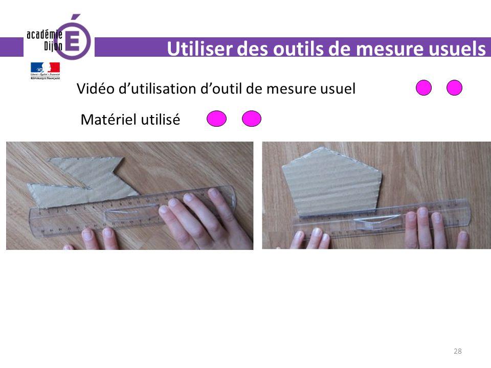 Utiliser des outils de mesure usuels 28 Vidéo dutilisation doutil de mesure usuel Matériel utilisé