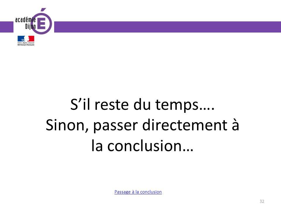 32 Sil reste du temps…. Sinon, passer directement à la conclusion… Passage à la conclusion