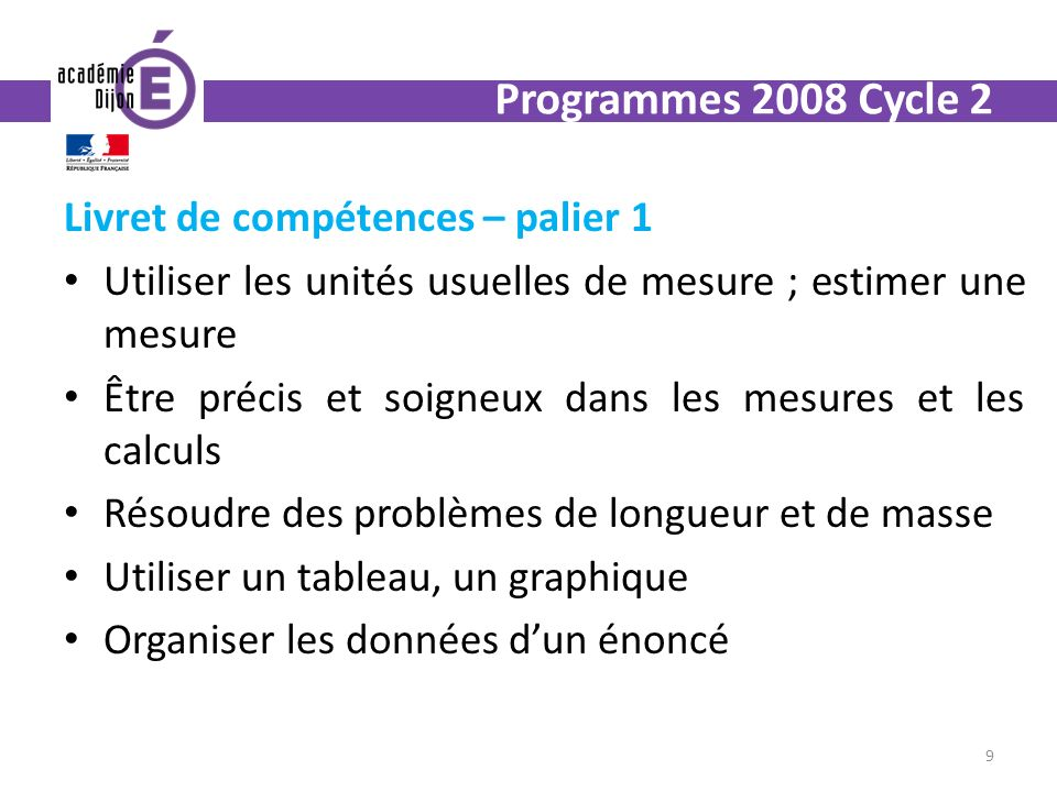 Livret de compétences – palier 1 Utiliser les unités usuelles de mesure ; estimer une mesure Être précis et soigneux dans les mesures et les calculs Résoudre des problèmes de longueur et de masse Utiliser un tableau, un graphique Organiser les données dun énoncé 9 Programmes 2008 Cycle 2