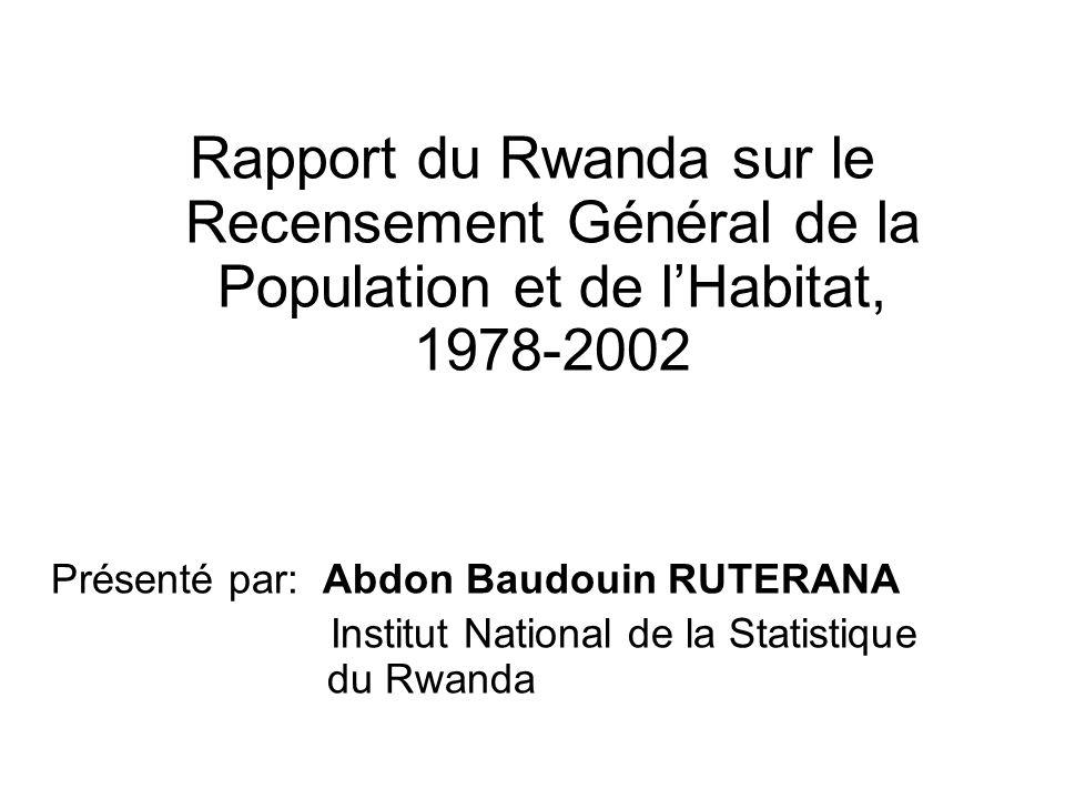 Rapport du Rwanda sur le Recensement Général de la Population et de lHabitat, 1978-2002 Présenté par: Abdon Baudouin RUTERANA Institut National de la