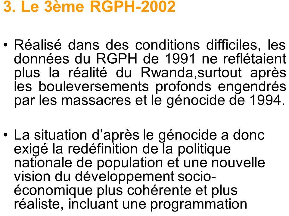 3. Le 3ème RGPH-2002 Réalisé dans des conditions difficiles, les données du RGPH de 1991 ne reflétaient plus la réalité du Rwanda,surtout après les bo