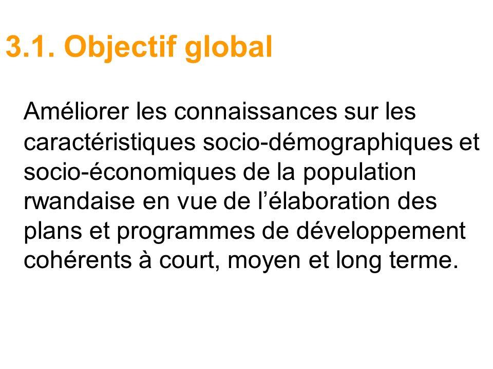 3.1. Objectif global Améliorer les connaissances sur les caractéristiques socio-démographiques et socio-économiques de la population rwandaise en vue
