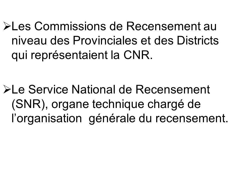Les Commissions de Recensement au niveau des Provinciales et des Districts qui représentaient la CNR. Le Service National de Recensement (SNR), organe