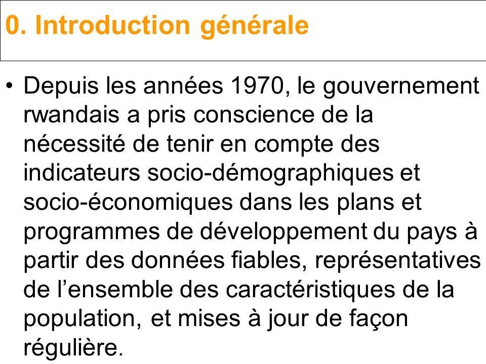 0. Introduction générale Depuis les années 1970, le gouvernement rwandais a pris conscience de la nécessité de tenir en compte des indicateurs socio-d