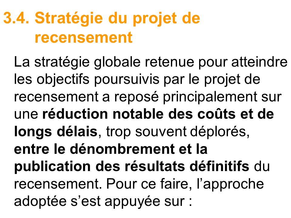 3.4. Stratégie du projet de recensement La stratégie globale retenue pour atteindre les objectifs poursuivis par le projet de recensement a reposé pri