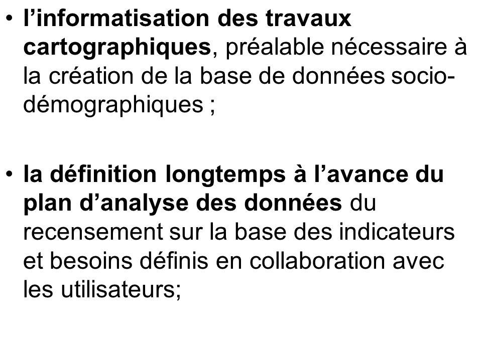 linformatisation des travaux cartographiques, préalable nécessaire à la création de la base de données socio- démographiques ; la définition longtemps