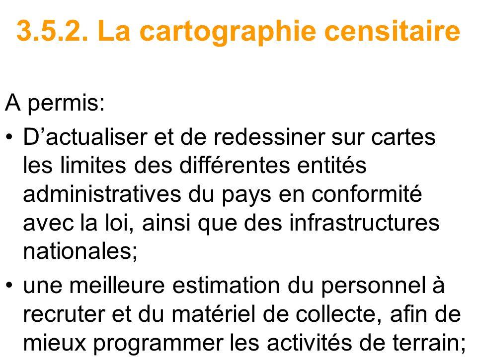 3.5.2. La cartographie censitaire A permis: Dactualiser et de redessiner sur cartes les limites des différentes entités administratives du pays en con