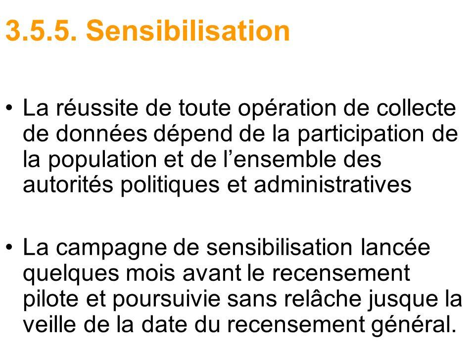 3.5.5. Sensibilisation La réussite de toute opération de collecte de données dépend de la participation de la population et de lensemble des autorités