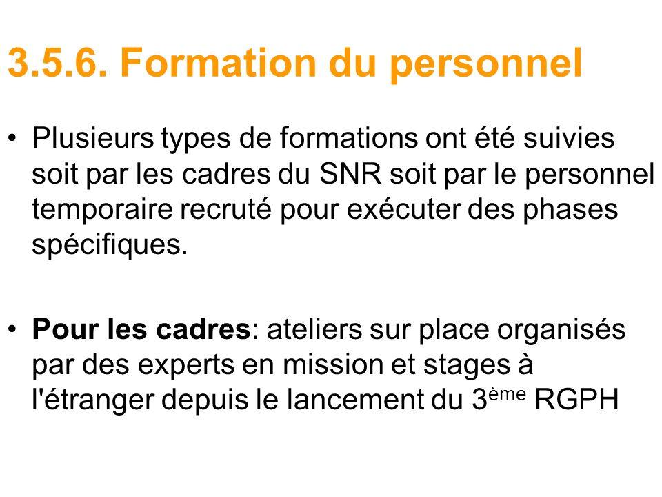 3.5.6. Formation du personnel Plusieurs types de formations ont été suivies soit par les cadres du SNR soit par le personnel temporaire recruté pour e